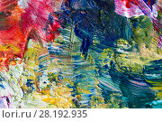 Купить «close up of art palette with colorful paint», фото № 28192935, снято 1 июня 2017 г. (c) Syda Productions / Фотобанк Лори