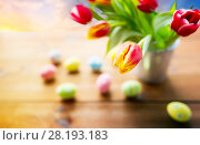 Купить «close up of tulip flowers and easter eggs», фото № 28193183, снято 28 января 2016 г. (c) Syda Productions / Фотобанк Лори