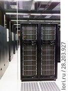 Купить «Closeup of hardware of data center», фото № 28203927, снято 15 января 2018 г. (c) Яков Филимонов / Фотобанк Лори