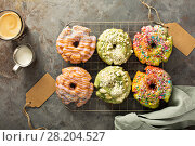Variety of donuts on a cooling rack. Стоковое фото, фотограф Елена Веселова / Фотобанк Лори