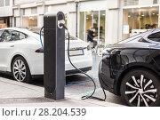 Купить «Charging modern electric car on the street as future of automotive industry.», фото № 28204539, снято 18 июня 2019 г. (c) Matej Kastelic / Фотобанк Лори