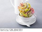 Купить «Unicorn donuts with coffee», фото № 28204551, снято 12 марта 2018 г. (c) Елена Веселова / Фотобанк Лори