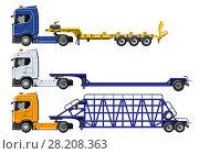 Купить «Semi trucks set isolated on white», иллюстрация № 28208363 (c) Александр Володин / Фотобанк Лори