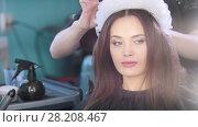 Купить «Beautiful young woman with stylish hair accessory», видеоролик № 28208467, снято 27 июня 2019 г. (c) Константин Шишкин / Фотобанк Лори