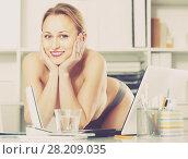Купить «Portrait of young girl in underpants in the office», фото № 28209035, снято 24 апреля 2017 г. (c) Яков Филимонов / Фотобанк Лори
