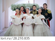 Купить «RUSSIA, MOSCOW - 05 MAR, 2015: Group of dancers are standing at literary award Yasnaya polyana in the Pashkov house», фото № 28210835, снято 5 марта 2015 г. (c) Losevsky Pavel / Фотобанк Лори