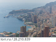 Купить «Overlooking Mediterranean Sea, coast and residential districts of Monaco», фото № 28210839, снято 4 августа 2016 г. (c) Losevsky Pavel / Фотобанк Лори