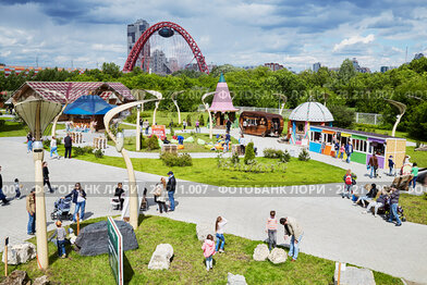 MOSCOW, RUSSIA - JUN 13, 2016: Entertainment park Krylatskoye Skazka. It is 3.5 hectares of fantastic world created by the Russian landscape designers near the Picturesque bridge.