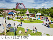 Купить «MOSCOW, RUSSIA - JUN 13, 2016: Entertainment park Krylatskoye Skazka. It is 3.5 hectares of fantastic world created by the Russian landscape designers near the Picturesque bridge.», фото № 28211007, снято 13 июня 2016 г. (c) Losevsky Pavel / Фотобанк Лори
