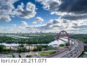 Купить «Moskva river, panorama of city and Jivopisny Bridge in Moscow, Russia at cloudy day. I have only one version of the photo with sharpening», фото № 28211071, снято 13 мая 2014 г. (c) Losevsky Pavel / Фотобанк Лори