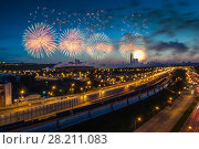 Купить «Bright fireworks explosions in night sky above Luzhniki stadium in Moscow, Russia. I have only one version of the photo with sharpening», фото № 28211083, снято 9 мая 2014 г. (c) Losevsky Pavel / Фотобанк Лори