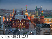 Купить «Historical Museum on Red Square in winter evening in Moscow, Russia», фото № 28211275, снято 8 декабря 2015 г. (c) Losevsky Pavel / Фотобанк Лори