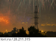 Купить «Fireworks, power lines and buildings at night in Moscow, Russia, Festival in Brateevo», фото № 28211315, снято 24 июля 2016 г. (c) Losevsky Pavel / Фотобанк Лори