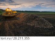 Купить «Machine with illumination for loading are on field near pile of sugar beet in summer evening», фото № 28211355, снято 18 августа 2015 г. (c) Losevsky Pavel / Фотобанк Лори