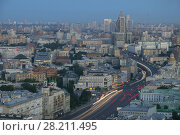 Купить «Residential buildings, roofs and Garden Ring road at summer morning in Moscow, Russia», фото № 28211495, снято 5 августа 2016 г. (c) Losevsky Pavel / Фотобанк Лори