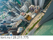 Купить «Skyscrapers, buildings, highway in Hong Kong city, China at summer, top view from China Resources Building», фото № 28211775, снято 1 сентября 2015 г. (c) Losevsky Pavel / Фотобанк Лори