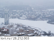 Купить «Residential area neat river at winter day in Krasnogorsk, Russia», фото № 28212003, снято 10 декабря 2013 г. (c) Losevsky Pavel / Фотобанк Лори