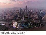 Купить «Guangzhou city in fog at beautiful summer evening, aerial view, China», фото № 28212387, снято 21 августа 2015 г. (c) Losevsky Pavel / Фотобанк Лори