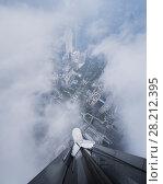 Купить «Rooftop of tall skyscraper and Guangzhou city in fog, China, top view», фото № 28212395, снято 22 августа 2015 г. (c) Losevsky Pavel / Фотобанк Лори