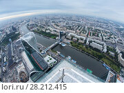 MOSCOW - SEP 3, 2014: Futuristic Moscow International Business Center, river, Bagration bridge. Years of construction of complex - 1995-2018. Редакционное фото, фотограф Losevsky Pavel / Фотобанк Лори