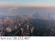 Купить «Garden and morning cityscape of Shenzhen in fog, China, aerial view», фото № 28212467, снято 25 августа 2016 г. (c) Losevsky Pavel / Фотобанк Лори