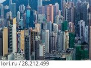 Купить «Tall residential buildings in sleeping area near mountain in Hong Kong, China, view from China Merchants Tower», фото № 28212499, снято 30 августа 2016 г. (c) Losevsky Pavel / Фотобанк Лори