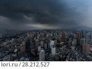 Купить «Skyscrapers and stormy sky, view from Panglin Plaza, Shenzhen, China», фото № 28212527, снято 27 августа 2015 г. (c) Losevsky Pavel / Фотобанк Лори