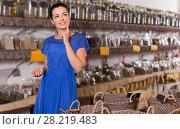 Купить «young female posing in eco market natural food», фото № 28219483, снято 13 июня 2017 г. (c) Яков Филимонов / Фотобанк Лори