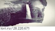 Купить «Composite image of waterfall in the void and stone», фото № 28220671, снято 24 августа 2019 г. (c) Wavebreak Media / Фотобанк Лори