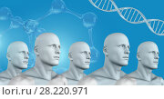 Купить «Clone 3D men in group with genetic DNA», фото № 28220971, снято 22 октября 2019 г. (c) Wavebreak Media / Фотобанк Лори