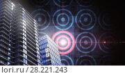 Купить «Tall buildings with target circles», фото № 28221243, снято 20 апреля 2018 г. (c) Wavebreak Media / Фотобанк Лори