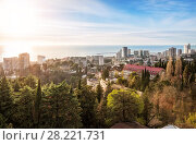 Купить «Вид на Сочи с высоты View of the city of Sochi», фото № 28221731, снято 20 января 2018 г. (c) Baturina Yuliya / Фотобанк Лори