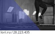 Купить «Close-up - Young muscular man working out in gym», фото № 28223435, снято 1 марта 2018 г. (c) Pavel Biryukov / Фотобанк Лори
