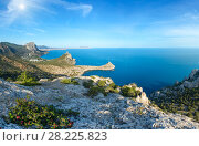 Купить «Sunshiny coastline of Novyj Svit summer view (Crimea, Ukraine)», фото № 28225823, снято 14 декабря 2018 г. (c) Юрий Брыкайло / Фотобанк Лори