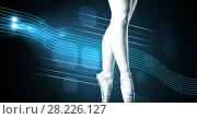 Купить «Ballet dancer with swish glowing curve motion design», фото № 28226127, снято 16 июля 2019 г. (c) Wavebreak Media / Фотобанк Лори