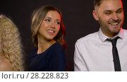 Купить «happy couple dancing at party or disco», видеоролик № 28228823, снято 7 марта 2018 г. (c) Syda Productions / Фотобанк Лори