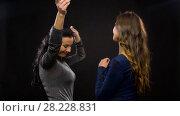 Купить «happy women dancing at party or disco», видеоролик № 28228831, снято 7 марта 2018 г. (c) Syda Productions / Фотобанк Лори