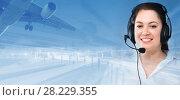 Купить «Dispatcher navigating plane», фото № 28229355, снято 22 мая 2018 г. (c) Яков Филимонов / Фотобанк Лори