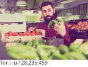 Купить «assistant demonstrating peppers», фото № 28235459, снято 15 ноября 2016 г. (c) Яков Филимонов / Фотобанк Лори