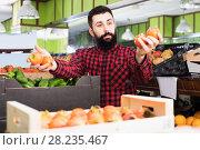 Купить «Man shop assistant demonstrating persimmons», фото № 28235467, снято 15 ноября 2016 г. (c) Яков Филимонов / Фотобанк Лори