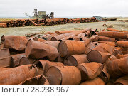 Купить «Rubbish left by the gold mining industry on the tundra, Nome, Alaska, USA, September 2004.», фото № 28238967, снято 20 апреля 2018 г. (c) Nature Picture Library / Фотобанк Лори