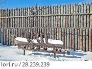 Купить «Деревянная скульптура первым первопроходцам на территории Ялуторовского острога. Ялуторовск. Тюменская область», фото № 28239239, снято 16 марта 2018 г. (c) Сергей Афанасьев / Фотобанк Лори