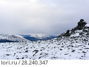 Купить «Alpine landscape of the Ural range in the north of the Sverdlovsk Region in winter», фото № 28240347, снято 24 марта 2018 г. (c) Евгений Харитонов / Фотобанк Лори