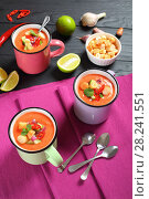 Купить «portions of delicious gazpacho in cups», фото № 28241551, снято 19 марта 2018 г. (c) Oksana Zh / Фотобанк Лори