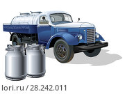 Купить «Retro delivery milk tanker truck», иллюстрация № 28242011 (c) Александр Володин / Фотобанк Лори