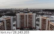 Купить «Flight into 23 districts Zelenograd in Moscow, Russia.», видеоролик № 28243203, снято 23 июля 2019 г. (c) Володина Ольга / Фотобанк Лори