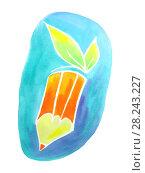 Купить «Creative pencil with green leaves. Ecology concept. Watercolor illustration.», иллюстрация № 28243227 (c) ViktoriiaMur / Фотобанк Лори