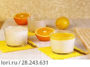 Купить «Еда. Апельсины и Панна-котта на завтрак. Итальянский молочный цитрусовый десерт из йогурта и сливок с апельсином и лимонным соком.», фото № 28243631, снято 18 марта 2018 г. (c) Светлана Евграфова / Фотобанк Лори