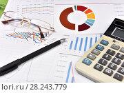 Купить «Калькулятор, графики, диаграммы, очки и ручка. Бизнес-натюрморт», эксклюзивное фото № 28243779, снято 30 марта 2018 г. (c) Юрий Морозов / Фотобанк Лори