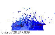 Купить «paints dance on white background. Simulation of 3d splashes of ink on a musical speaker that play music. beautiful splashes as a bright background in ultra high quality. shades of blue v47», иллюстрация № 28247839 (c) Алексей Бураков / Фотобанк Лори